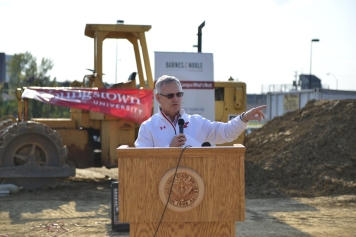 Tressel speaking at the groundbreaking ceremony of the Barnes & Noble bookstore.
